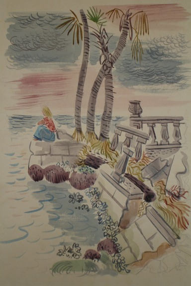 Child on Seawall (Watercolor) 1940-50's
