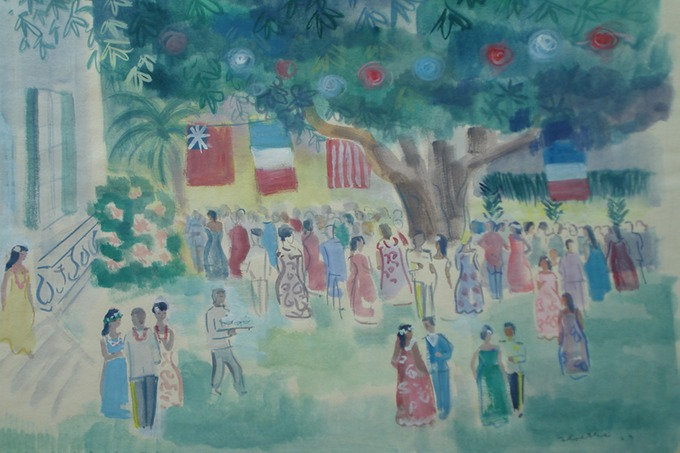 Governors Cocktail Party 2 Tahiti  (Watercolor) 1963