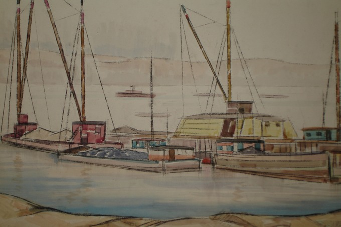 Hudson at 128th St. 1920's  Charcoal & Watercolor
