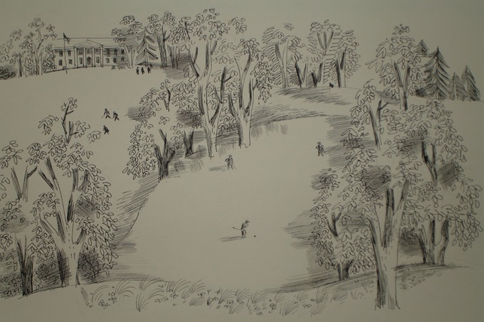 "Hunter Club ""Iron to the Green""  1930-40's (Pen & Ink)"