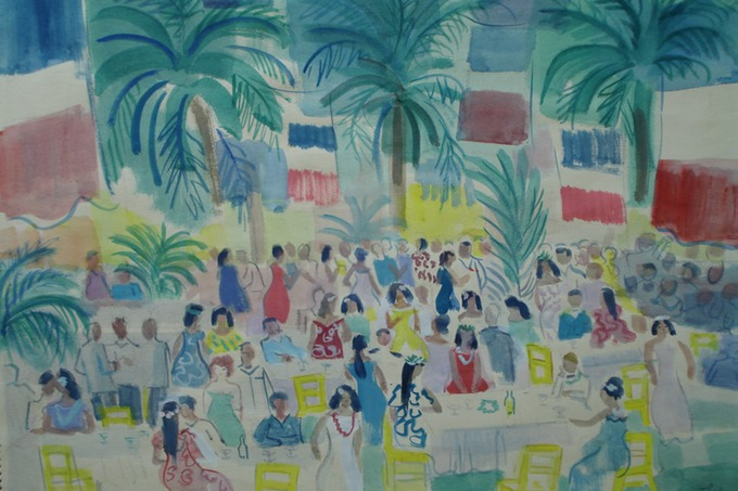 La Fete Governors Ball  Tahiti  (Watercolor) 1963