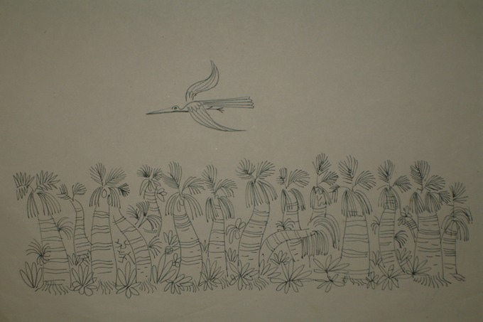 Pelcan Flying over Palm Trees (Pen & Ink) 1940-50's