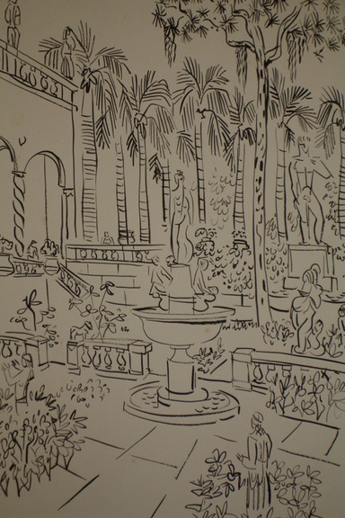 Ringling Museum Courtyard (Pen&Ink) 1940-50's